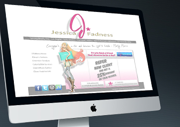 Jessicafadnesshair.com Logo Design, Website Design Authored by Damon Merten and Social Marketing by Daedalus Creative Design, Los Angeles CA